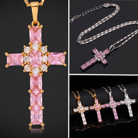 Christian Cross Pendant 18K Real Gold Plated Pink Clear Cubic Zirconia Girly Necklace for Women MGC = 5710662081