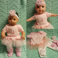 """Baby Doll Clothes to fit 15 inch doll """"Ballet Slippers"""" Will fit Bitty Baby®  doll outfit dress shorts socks headband twins handmade J4"""