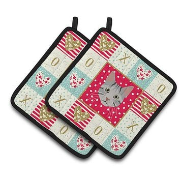 Egyptian Mau Cat Love Pair of Pot Holders CK5114PTHD