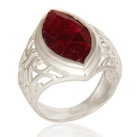 925 Sterling Silver Red Ruby Corundum Gemstone Marquise Cut Statement Ring