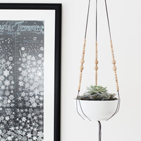 MORE COLORS | Hanging Planter without Pot | Medium Modern Macrame Planter | Cord & Natural Wood Bead Plant Hanger | Minimalist Home Decor