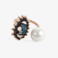 Eye and Pearl Open Ring