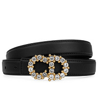 Samplefine2 Dior New fashion diamond letter buckle couple belt Black