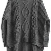 Deep Grey High-Low Cable Knit Sweater - OASAP.com