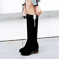 Suede Bow Rhinestone Platform Tall Boots Chunky Heel Winter Shoes 2827