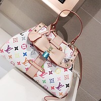 LV vintage color letter logo printed women's handbag shoulder messenger bag