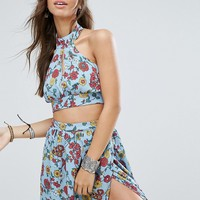 Glamorous Festival Halter Neck Top With Tie Back In Floral Print Co-Ord at asos.com