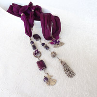 Whirling Dervish-Semazen Pendant , Jewelry Scarf, Scarf Necklace,  Silver Plated, Amethyst Necklace , Turkish Silk Necklace