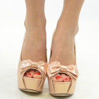 Bloomington Gold Peep Toe Bow Pumps