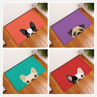 2017 New Cartoon Dog Print Carpets Bathroom  Mats  Anti-Slip  Rugs  40X60 50X80cm.