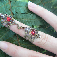 double armor ring chained ring Swarovski RED  knuckle ring claw ring nail tip ring vampire goth victorian goddess pagan boho gypsy