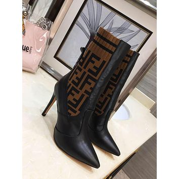 Fendi 2021 Trending Women's  Leather Boots Shoes High Boots