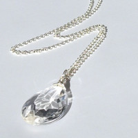 Layering Necklace Faceted Glass Vintage Chandelier Pendant on a Silver Plated 22 inch ROLO Chain, Vintage Glass Chandelier Pendant