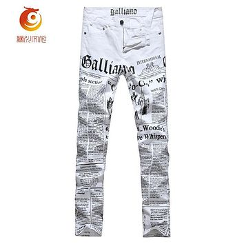 Low-Waisted Summer Jeans Mens Painted Skinny Jeans Men Denim Trousers White Printing Newspaper Casual Pants For Men'S Clothes