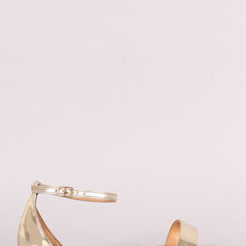 Bamboo Metallic Patent Open Toe Ankle Strap Flat Sandal