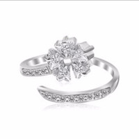 White Cubic Zirconia Studded Flower Design Toe Ring in Rhodium Plated Sterling Silver
