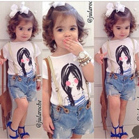 Children's clothing sets beauty cartoon t-shirt +suspenders denim shorts set children sets baby girl's clothing summer sets = 1929926724