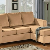 A.M.B. Furniture & Design :: Living room furniture :: Sofas and Sets :: Sectional Sofas :: Camel Velvet Microfiber Reversible Chaise Apartment Size Sectional Sofa Set