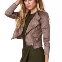 Swayed By Suede Cropped Moto Jacket