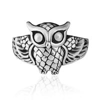 925 Sterling Silver Vintage Style Detailed Owl Bird Ring - Nickel Free Size 8