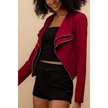 Long Sleeve Collarless Open Front Double Zipper Detailed Blazer Jacket