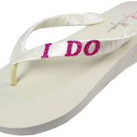 Ivory I Do Wedge Flip Flops for the Bride- Ivory White with Hot Pink