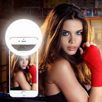 Mobile LED Selfie Ring For iPhone 5s 6S Plus LG Samsung S7 Android Flash Enhancing Light