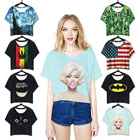 Casual Multicolor Personality Pattern Print Round Neck Short Sleeve Loose T-shirt Crop Top