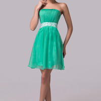 Green Strapless Beaded Ruched Bodice Cutout Back Homecoming Dress