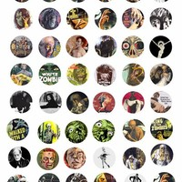 printable zombies undead ghouls digital downloadable collage sheet clipart 1 inch circles movie posters DIY jewelry making pendant images
