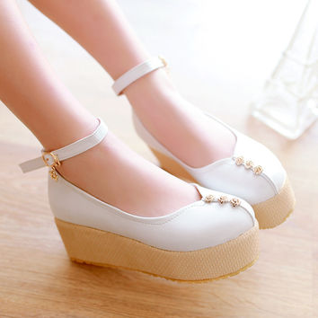 Women Wedges High Heels Platform Shoes 1828