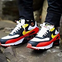 NIKE Air Max 90 Popular Women Casual Sport Running Sneakers Shoes Black&Red&Yellow