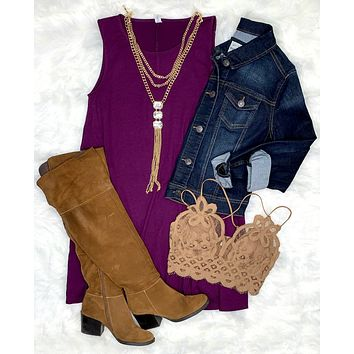 Basic Pocket Tank Dress - Plum