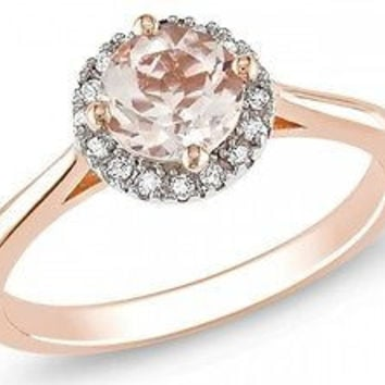 Pink Rhodium Plated Sterling silver ring With pink Round Solitaire111