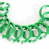 Extra Small Knitting stitch marker | Lace stitch marker | Snagless stitchmarker | Gift for Knitters | green rings; clear beads | #0502
