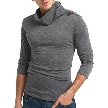 Solid Turtneck Toggle Button Pullover Long Sleeve T-shirt