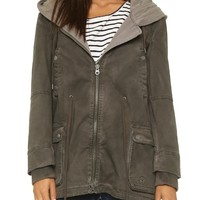 Twill Parka with Knit Hood