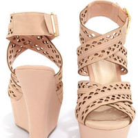 Bamboo Smooch 43 Rose Crisscrossing Strappy Wedge Sandals