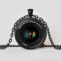 CAMERA LENS PENDANT Zoom Lens Digital Camera Necklace Black White Green Red Photographer Gift Gift for Him Gift for Her Not an Actual Lens