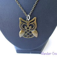 Owl Pendant Necklace, Handmade Chain Accessory, Brass Tone Metal, One of a Kind Gifts for Her