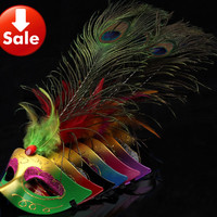 on sale long peacock feather party mask carnival wedding prop novelty birthday gift masquerade costume TAOS 50pcs/lot