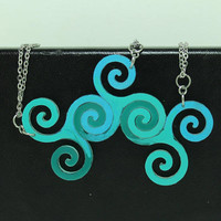 Linking pendants Set of 3 Best friend jewelry blue spiral pendants