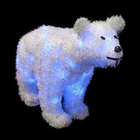 Polar Bear Christmas Decoration - 35 Blue Mini Lights