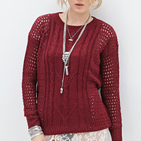 FOREVER 21 Open-Knit Fisherman Sweater