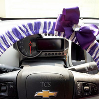 Purple and White Zebra Steering Wheel Cover with Bow in Your Choice of Color
