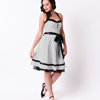 1950s Pin Up Style Black & White Dot Abbey Halter Swing Dress