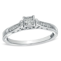 1/10 CT. T.W. Composite Princess-Cut Diamond Tapered Shank Promise Ring in Sterling Silver - Size 7 - View All Rings - Zales