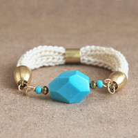 Cream and turquoise bracelet, faceted stone bracelet, howlite bracelet, boho bracelet