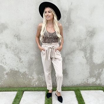 With Confidence Light Tan High Waisted Belted Pants