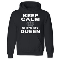 "Zexpa Apparelâ""¢ Keep Calm She's My Queen Unisex Hoodie Couple Matching Gift Hooded Sweatshirt"